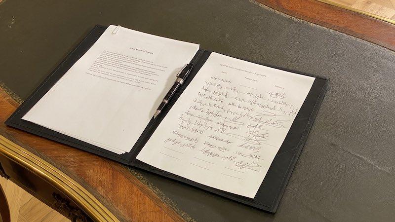 """""""დილის 9 საათიდან გიწვევთ შეთანხმებაზე ხელმოსაწერად"""" — კარლ ჰარცელი"""