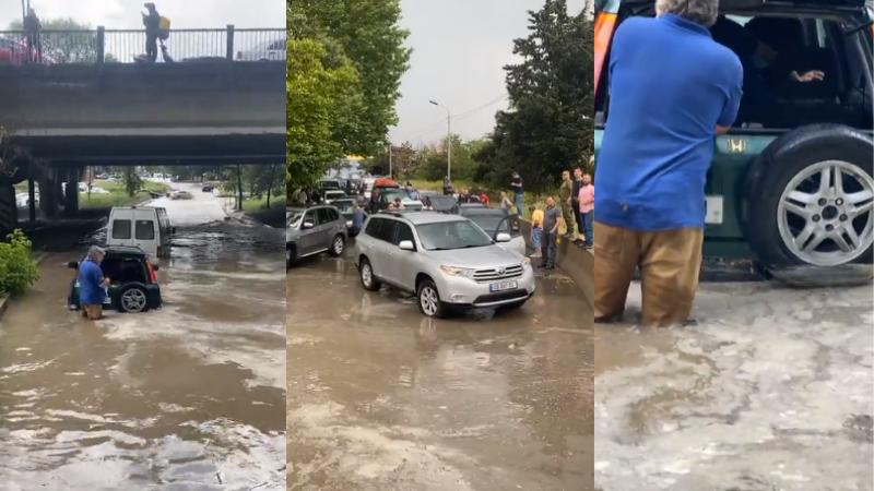 ძლიერი წვიმის შემდეგ სამგორში ავტომობილები დაიტბორა