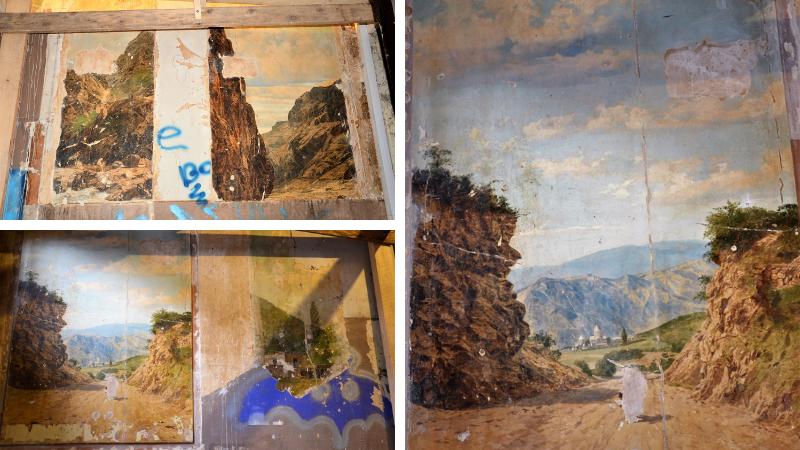 """კედლის მხატვრობები ქართული თემატიკით: აღმოჩენა სასტუმრო """"ლონდონის"""" სადარბაზოში"""
