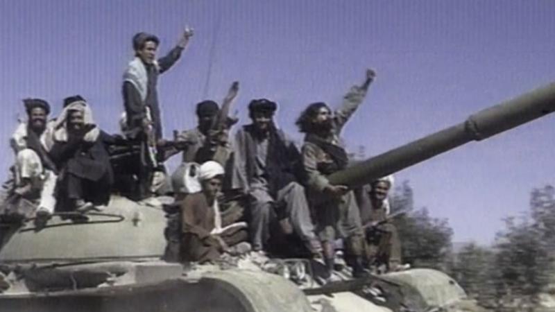 თალიბანის მებრძოლები. სქრინი NBC-ის ვიდეოდან