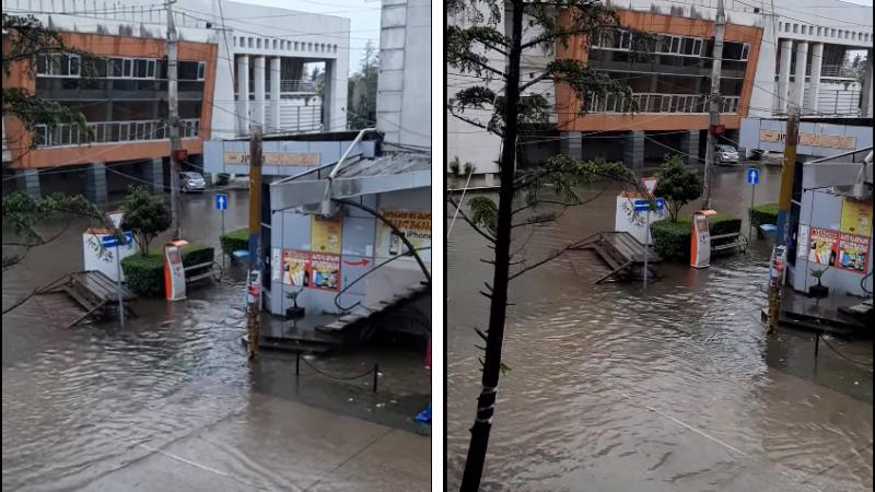 ძლიერი წვიმა ფოთში: დაიტბორა ქუჩები, ეზოები და სარდაფები