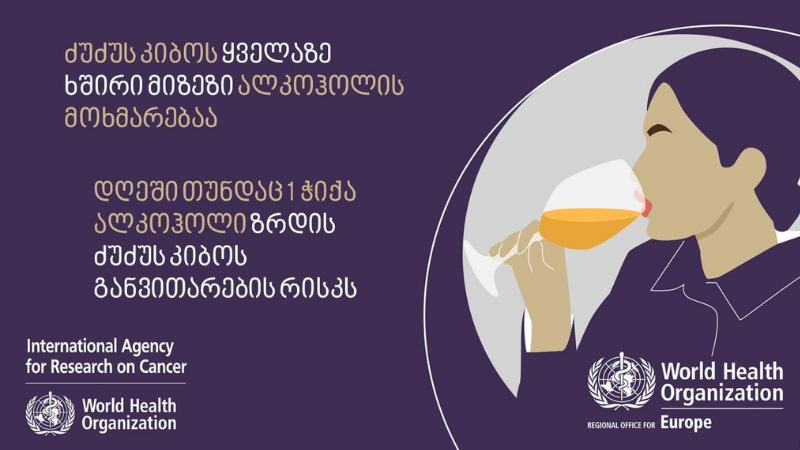 ალკოჰოლი ძუძუს კიბოს უმთავრესი რისკ-ფაქტორია — ჯანმო