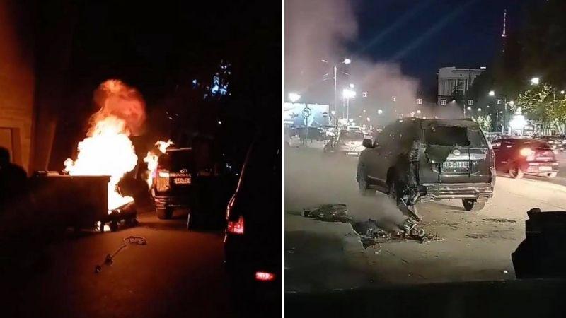 თბილისში ნაგვის ურნიდან ცეცხლი მანქანაზე გადავიდა