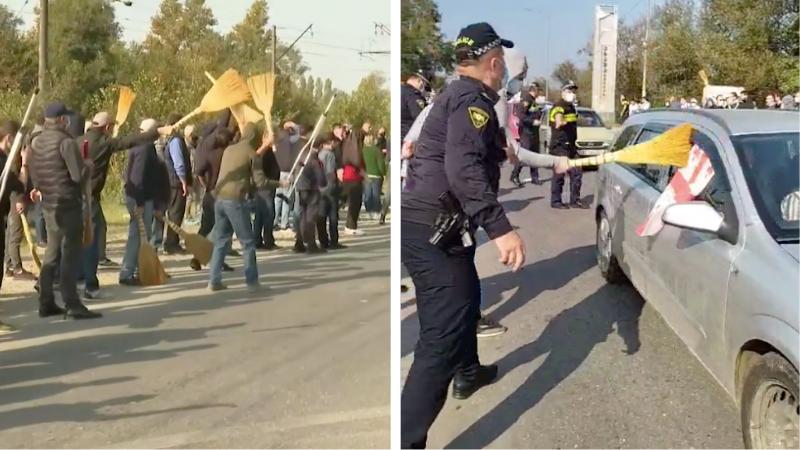 В Самтредиа активистов «Нацдвижения» встретили люди с вениками